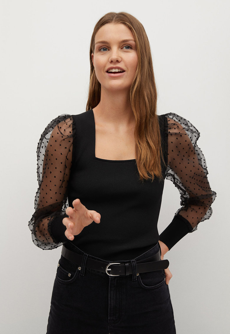 Bluza cu maneci semitransparente bfante Lacy imagine promotie