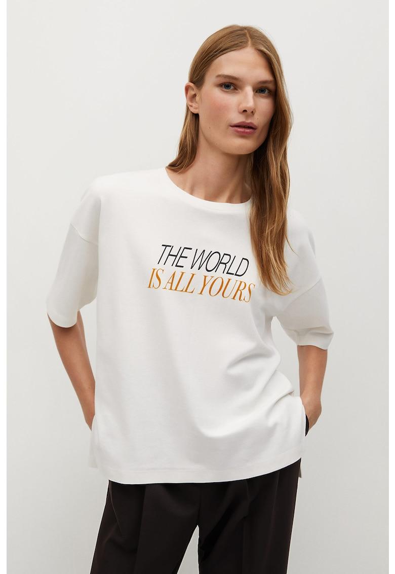 Tricou din bumbac organic cu imprimeu text PSWorld