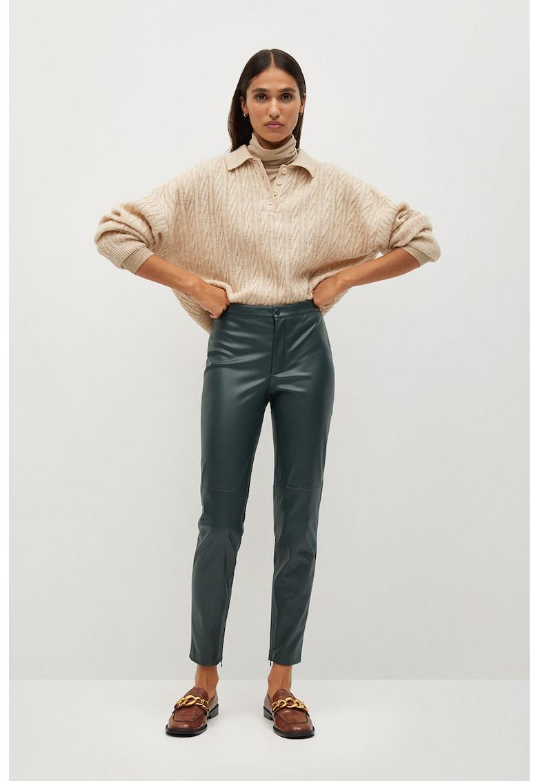 Pantaloni slim fit din piele ecologica London