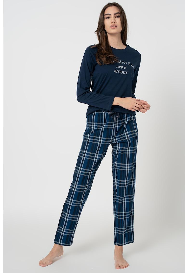 Pijama cu model text si carouri imagine
