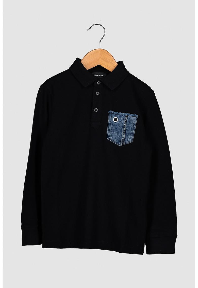 Bluza polo cu buzunar pe piept imagine