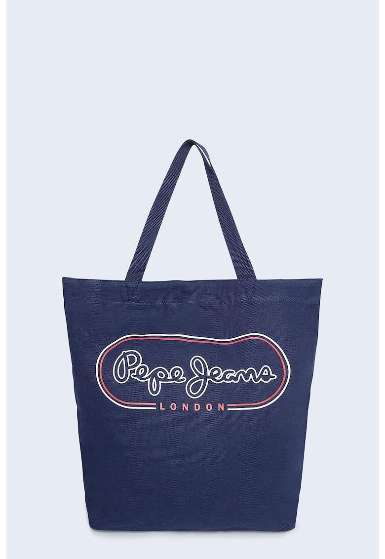 Geanta shopper cu imprimeu logo Mer imagine