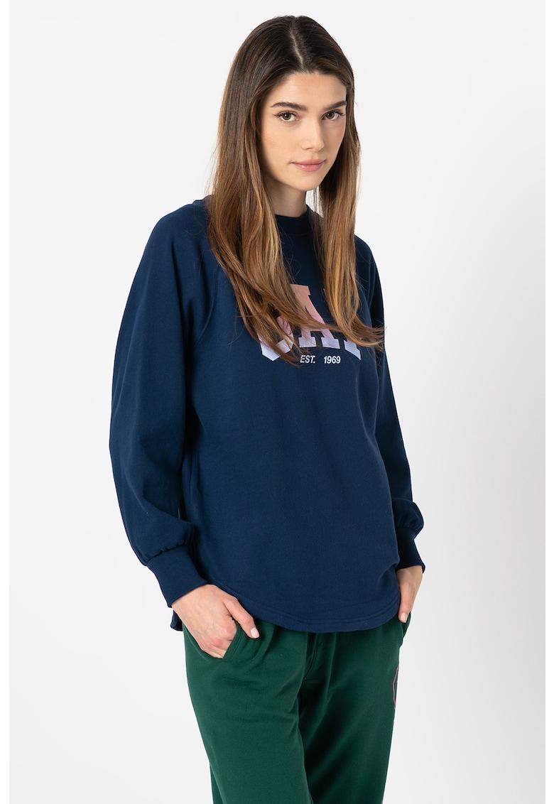 Bluza sport lejera cu maneci raglan si logo