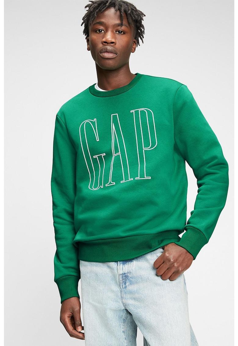Bluza sport cu decolteu la baza gatului si logo supradimensionat imagine