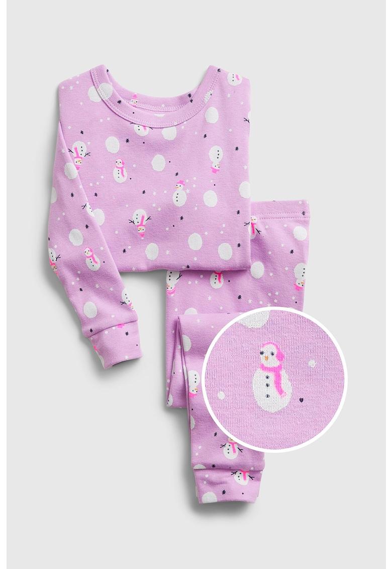 Pijama din bumbac cu model cu om de zapada