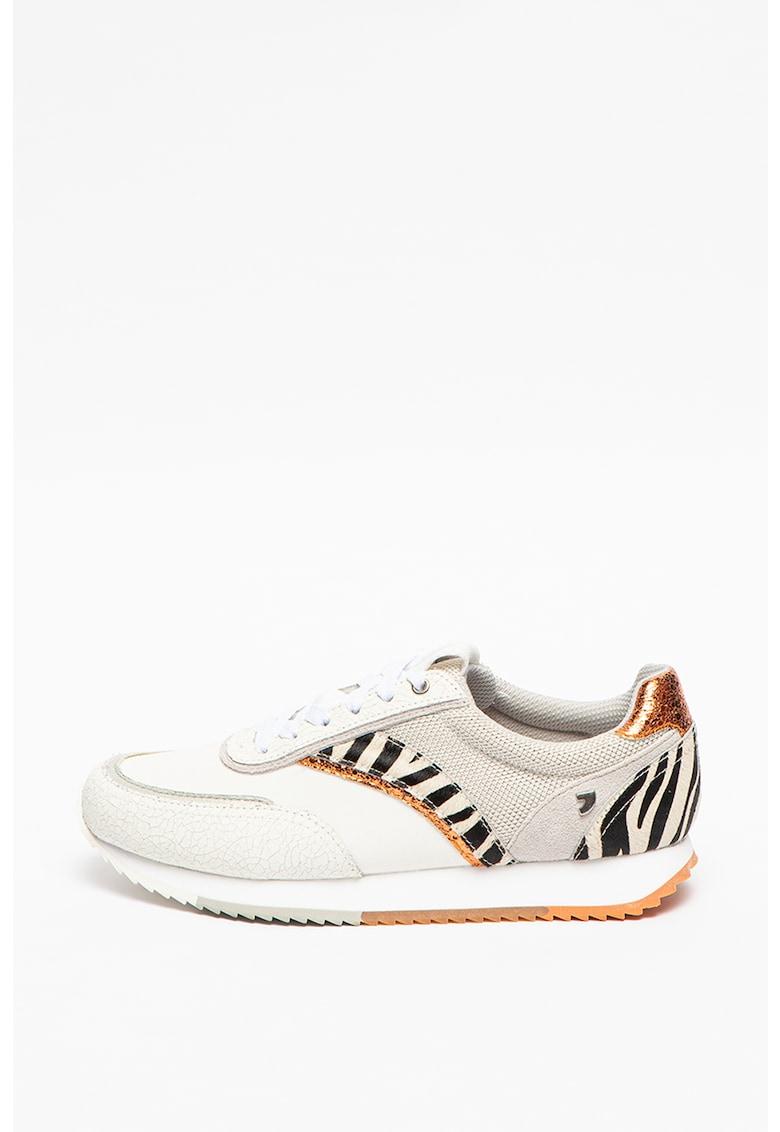 Pantofi sport cu insertii de piele intoarsa si piele Columbus