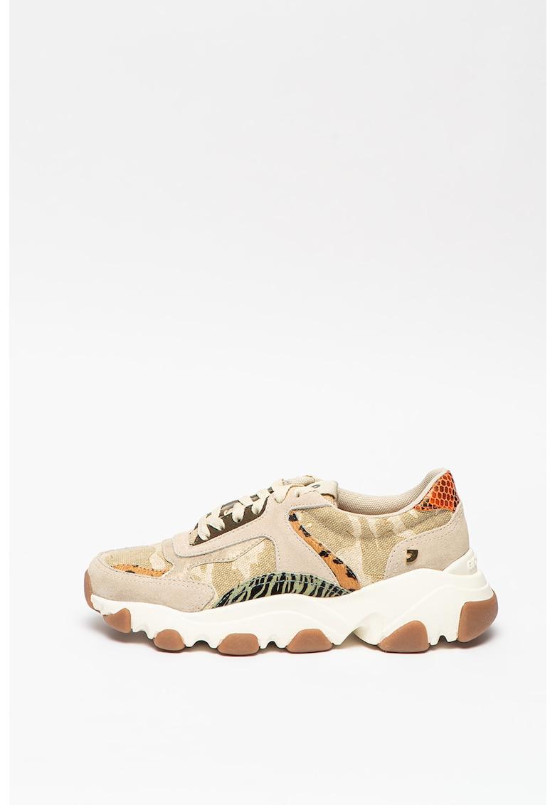 Pantofi sport wedge din piele intoarsa si material textil Haven