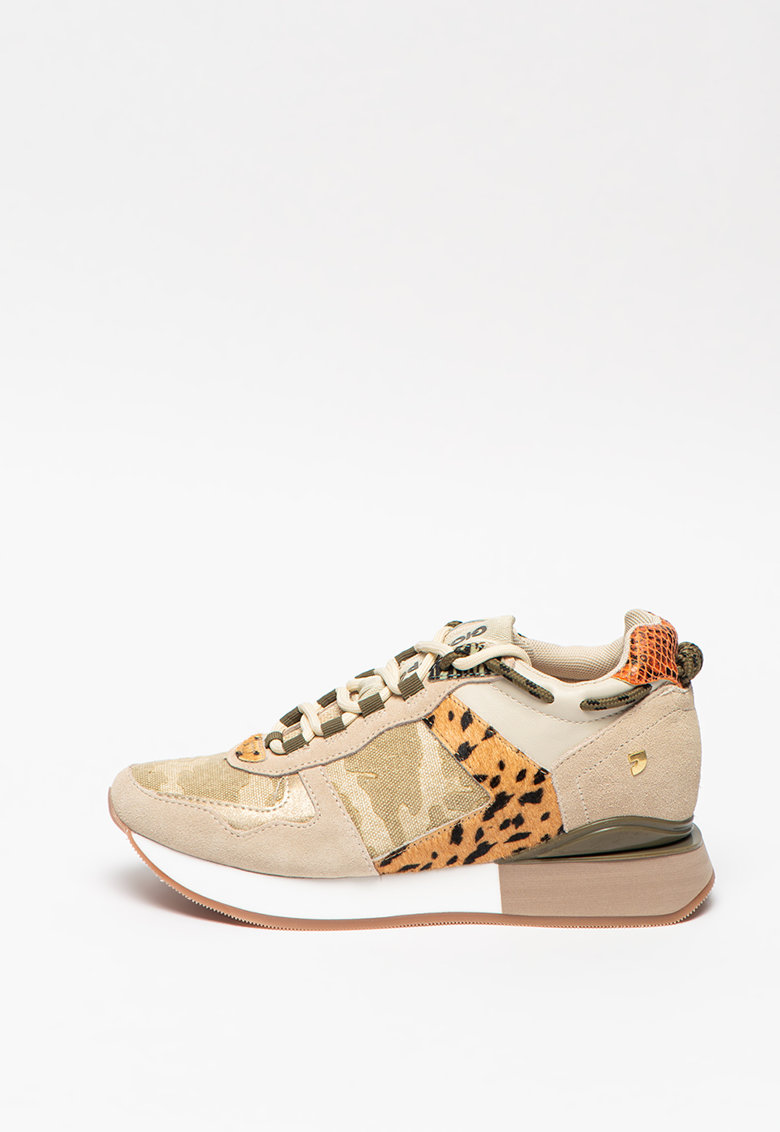 Pantofi sport flatform mid-cut de piele intoarsa Paterson