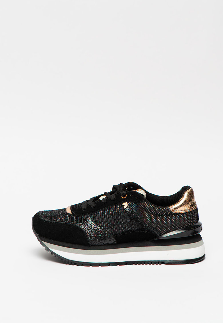 Pantofi sport flatform cu insertii de piele intoarsa Boston