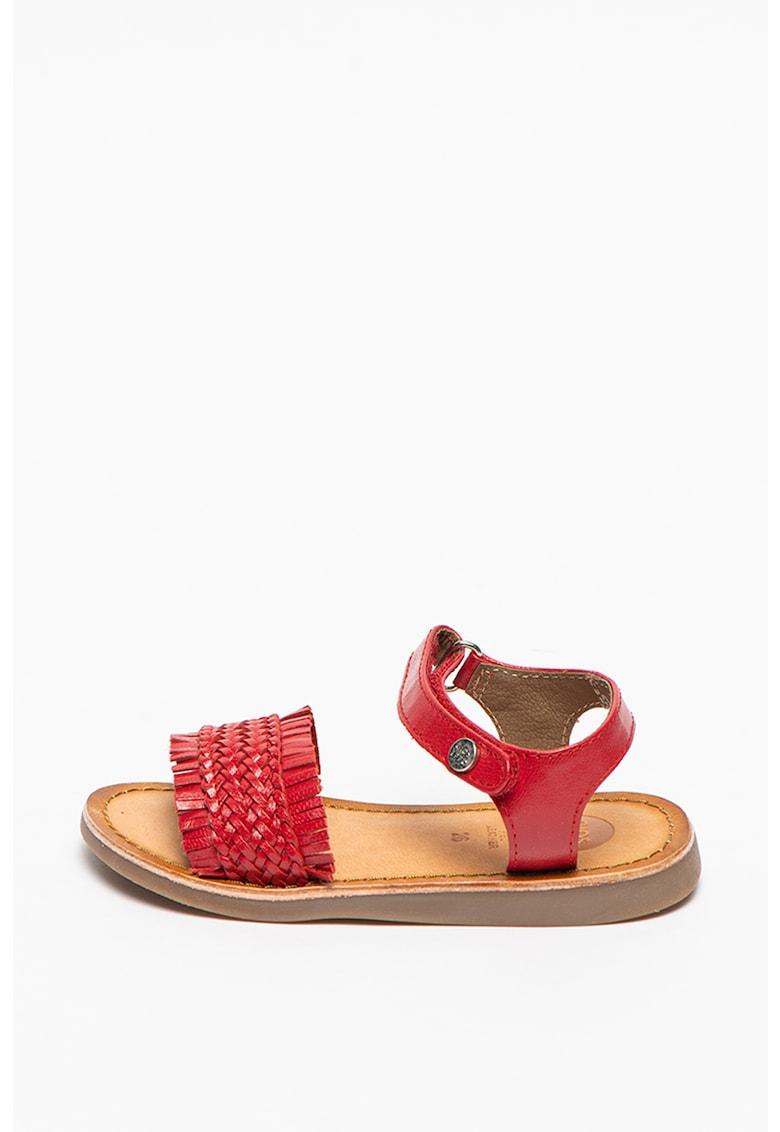 Sandale de piele cu detaliu cu aspect tesut Maranello
