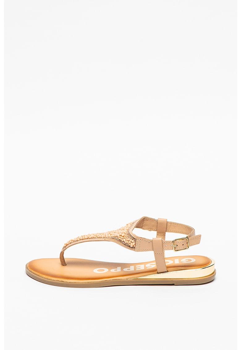 Sandale cu bareta separatoare si aplicatii de margele Harford