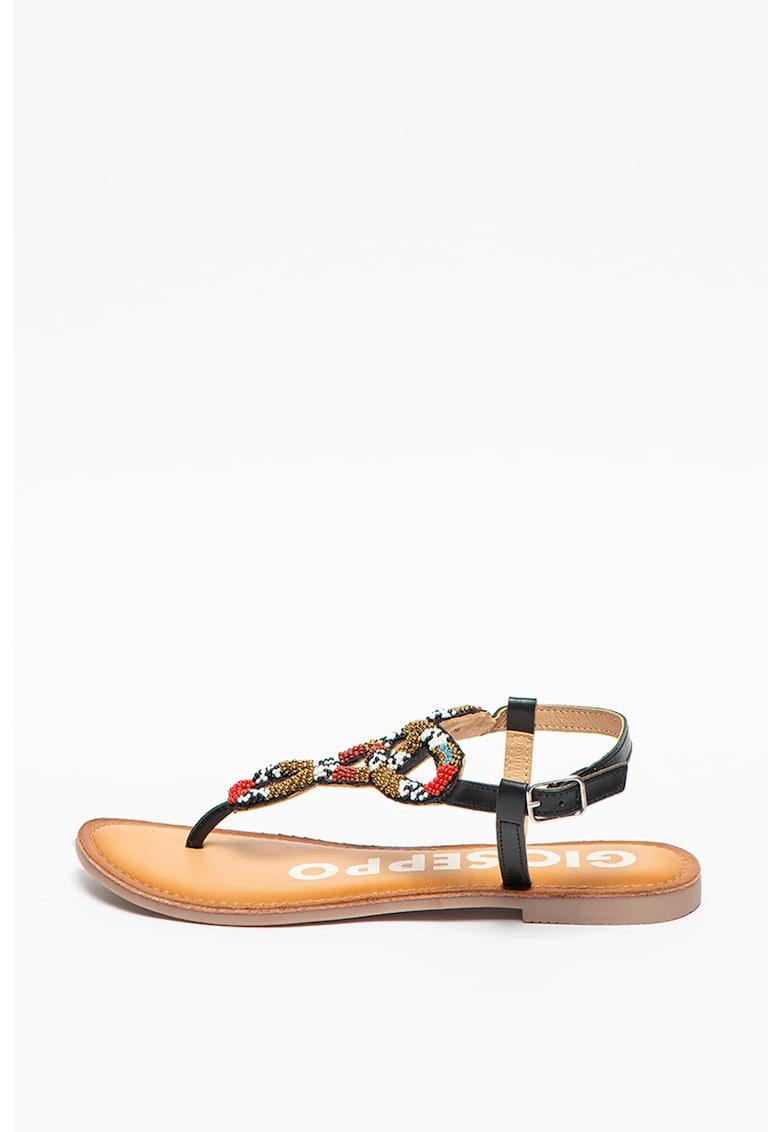 Sandale de piele cu aplicatii de margele Hytop