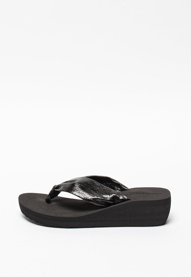 Papuci flip-flop wedge cu aspect peliculizat Acton imagine