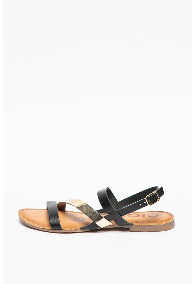 Sandale de piele cu garnitura cu aspect metalizat Vance poza fashiondays