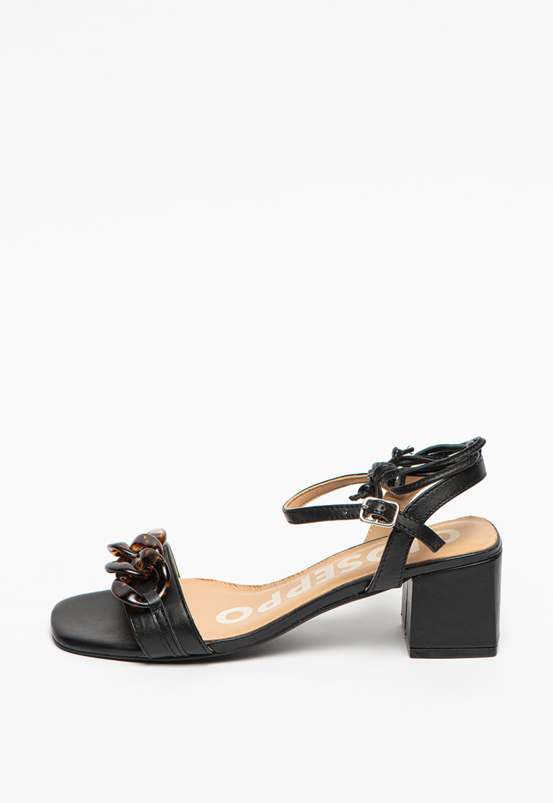 Sandale de piele cu detaliu decorativ cu model tortoise Trego