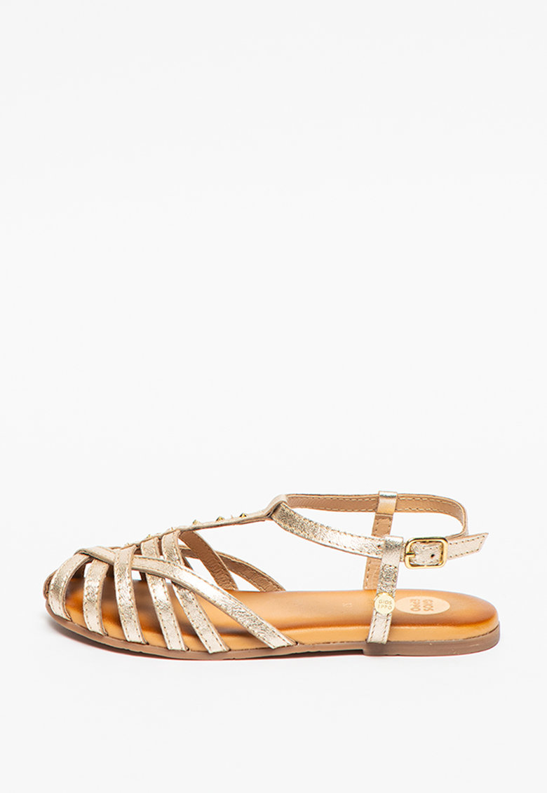 Sandale de piele cu aspect metalizat Dumeste imagine