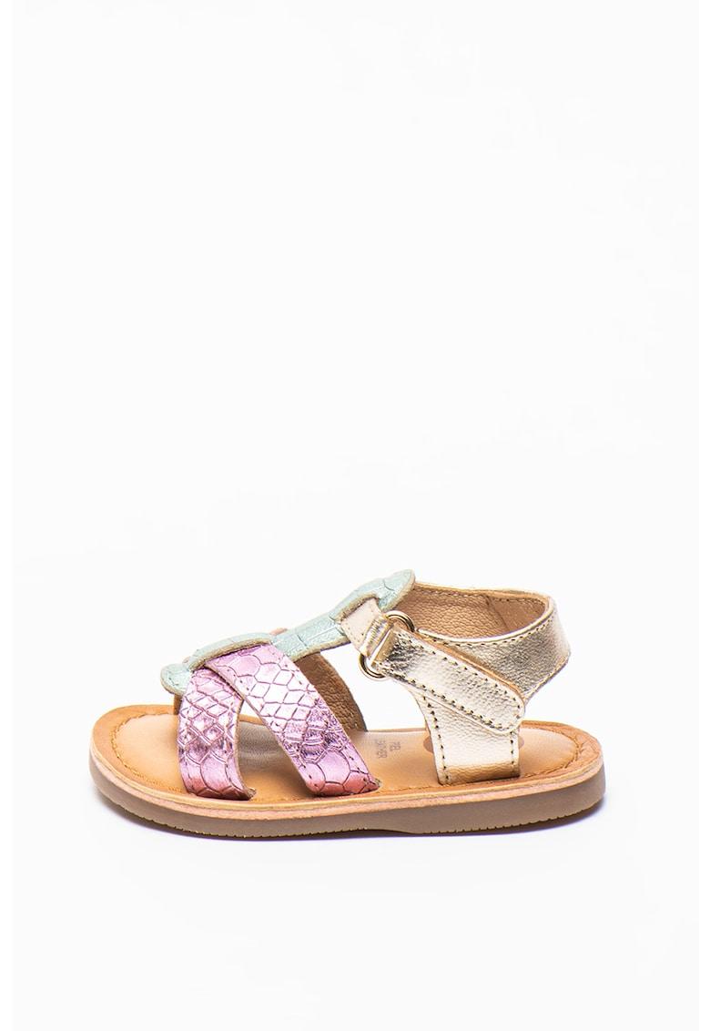 Sandale de piele cu aspect metalizat si velcro Istres de la Gioseppo