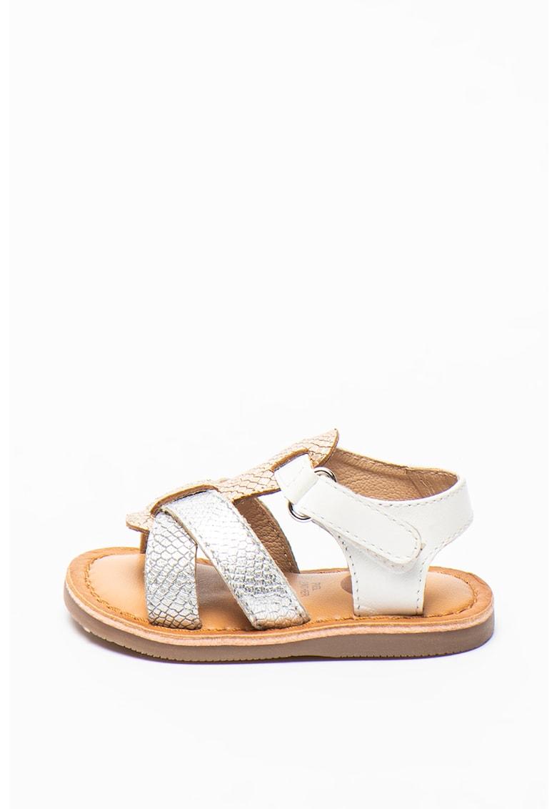 Sandale de piele cu aspect metalizat Istres de la Gioseppo