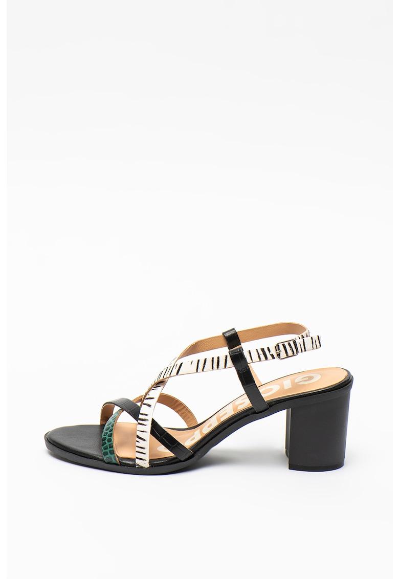 Sandale de piele cu barete multiple si toc masiv Stanton Gioseppo fashiondays.ro