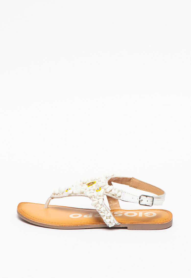 Sandale de piele si material textil cu bareta separatoare Alban imagine