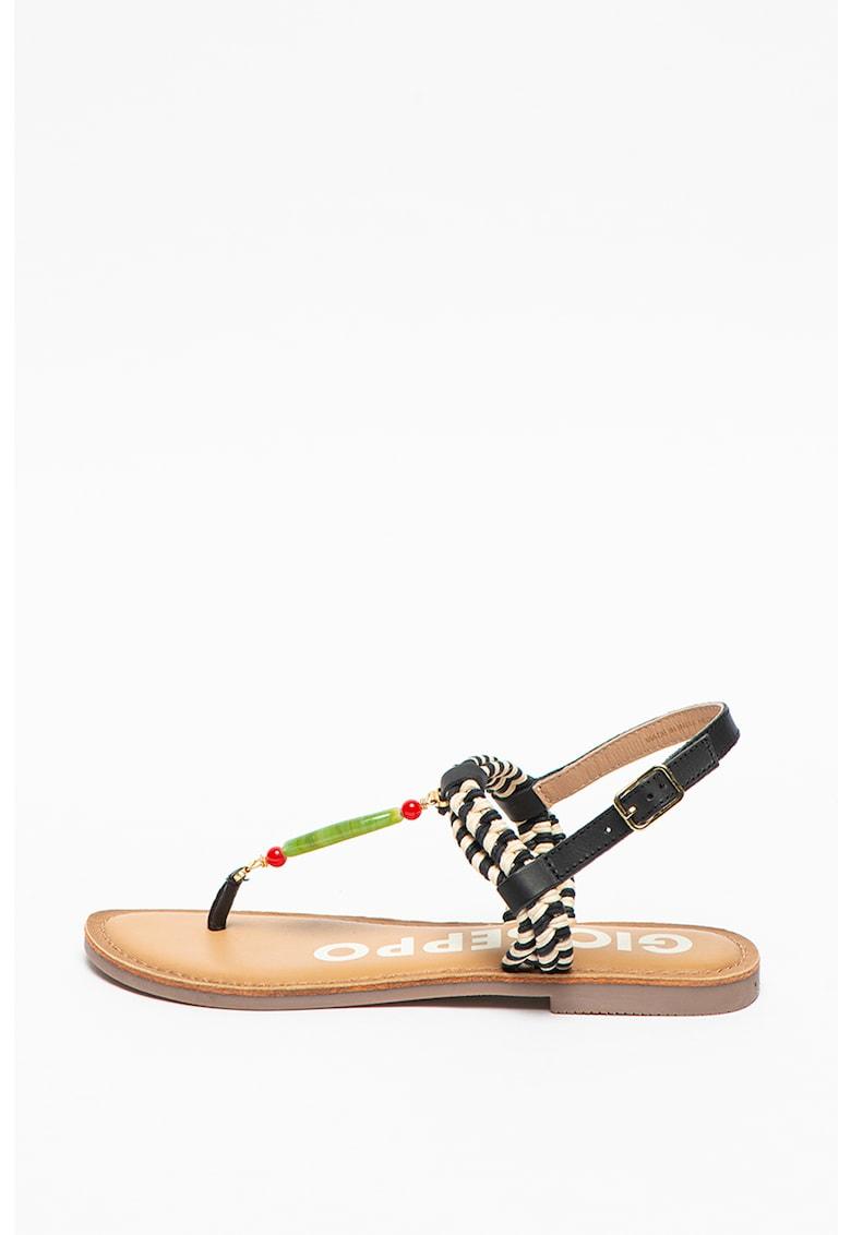 Gioseppo Sandale de piele cu bareta separatoare si garnituri din material textil Antigo