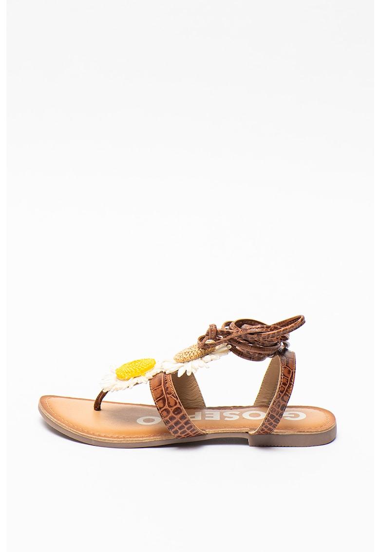 Sandale de piele cu design petrecut si aspect de piele de crocodil Hale