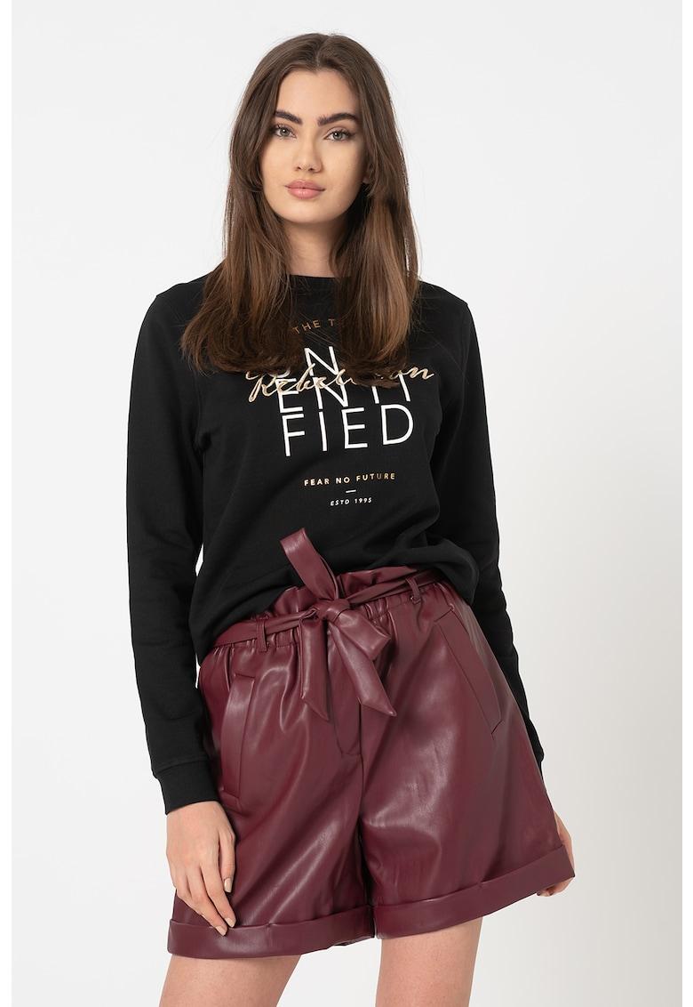 Bluza sport din bumbac organic cu imprimeu text Tilda imagine promotie