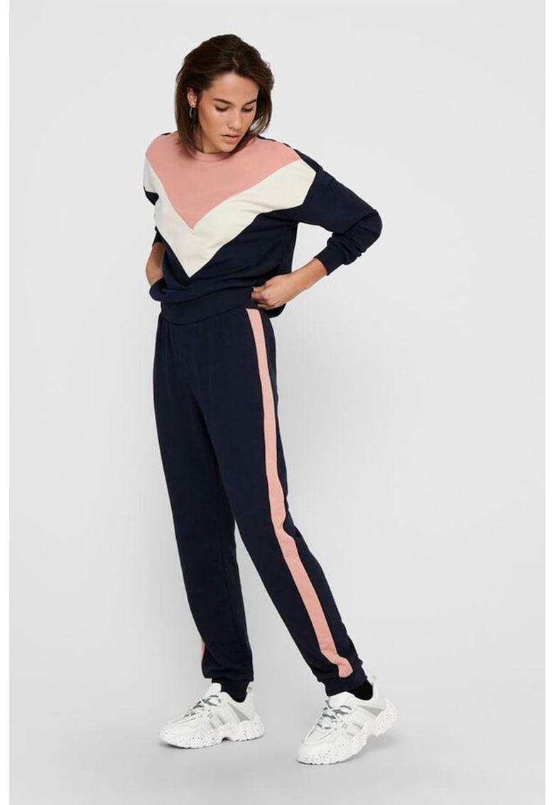 Pantaloni sport cu segmente contrastante