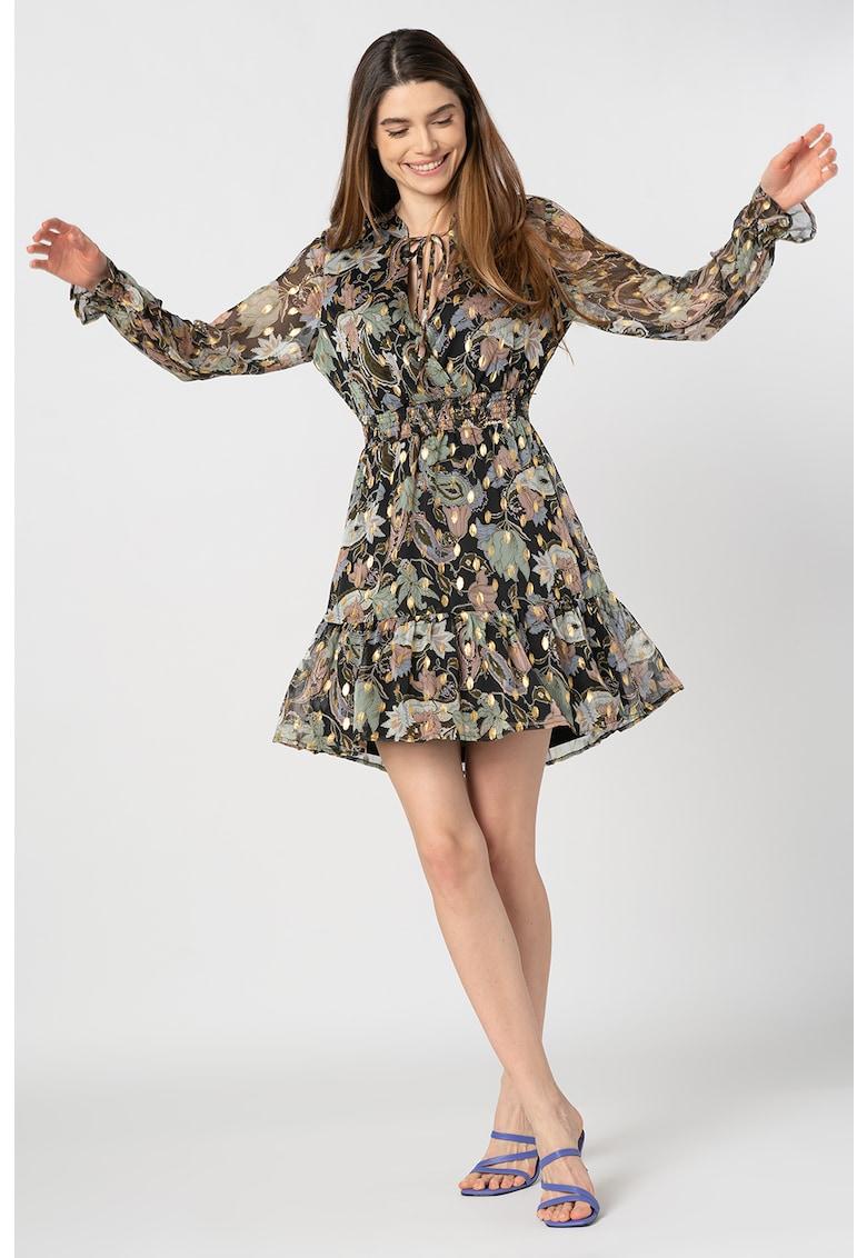 Rochie evazata cu imprimeu floral si talie elastica Sasha
