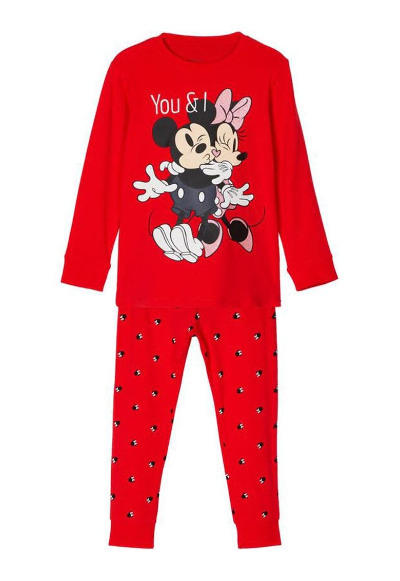 NAME IT Pijama din amestec de bumbac organic cu imprimeu Mickey si Minnie Mouse