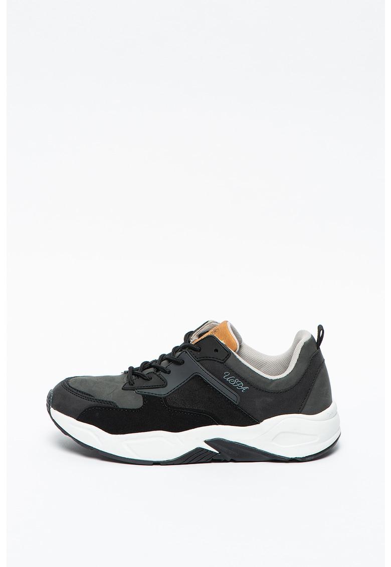 Pantofi sport de piele ecologica cu detalii logo U.S.-Polo-Assn. imagine 2021