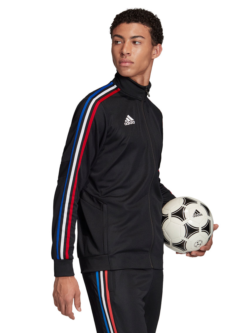 Bluza cu fermoar si benzi contrastante pentru fotbal Tiro