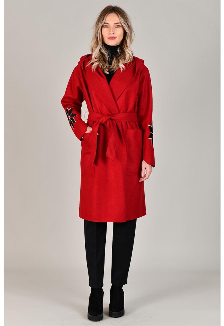 Palton din amestec de lana - cu broderii cu model etnic Format Lady fashiondays.ro