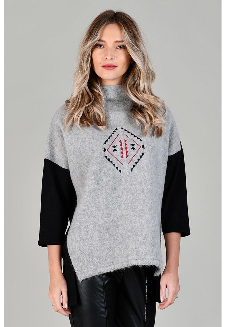 Pulover din amestec de lana - cu terminatie asimetrica Format Lady fashiondays.ro