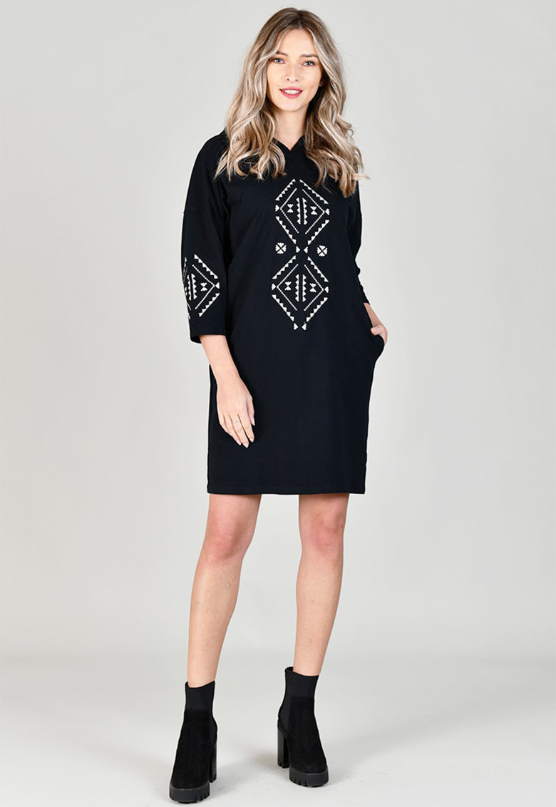 Rochie tip hanorac cu broderie etnica Format Lady fashiondays.ro