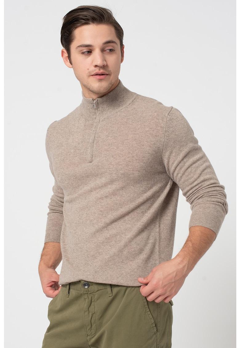 Pulover de lana Merinos cu fenta cu fermoar