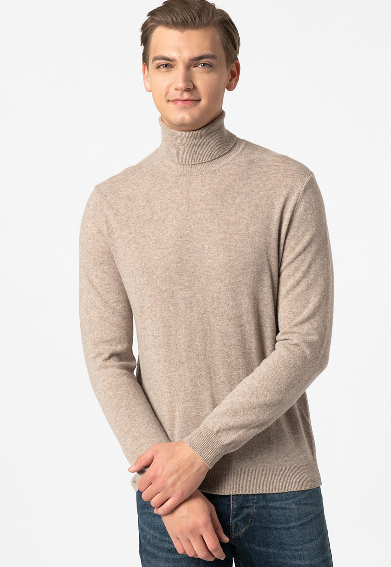 Pulover de lana virgina cu guler inalt