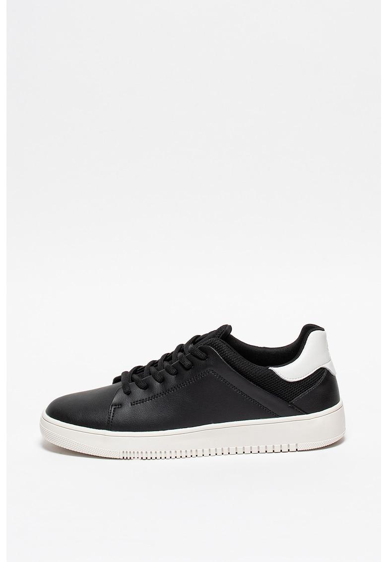 Pantofi sport de piele cu insertii de material textil