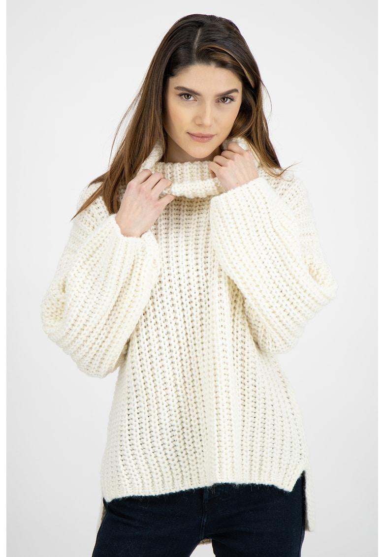 Pulover din amestec de lana si lana alpaca cu guler inalt