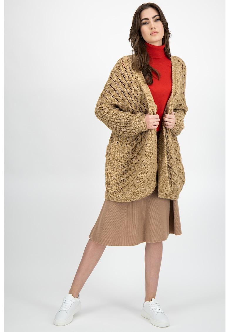 United Colors of Benetton Cardigan tricotat gros din amestec de lana si lana alpaca