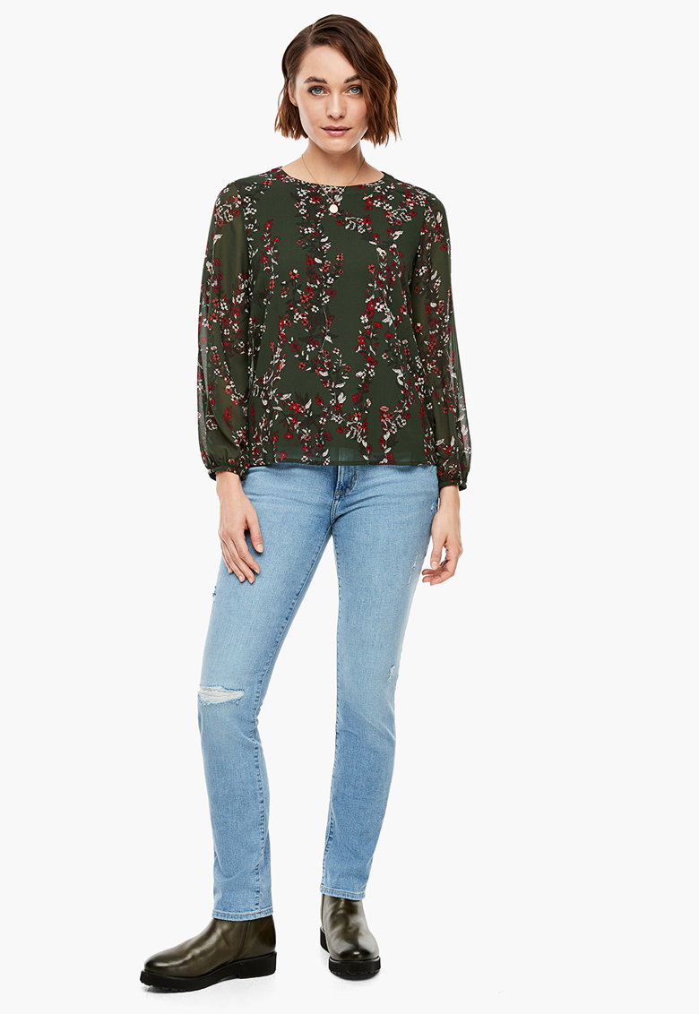 Bluza cu imprimeu floral si maneci semitransparente imagine