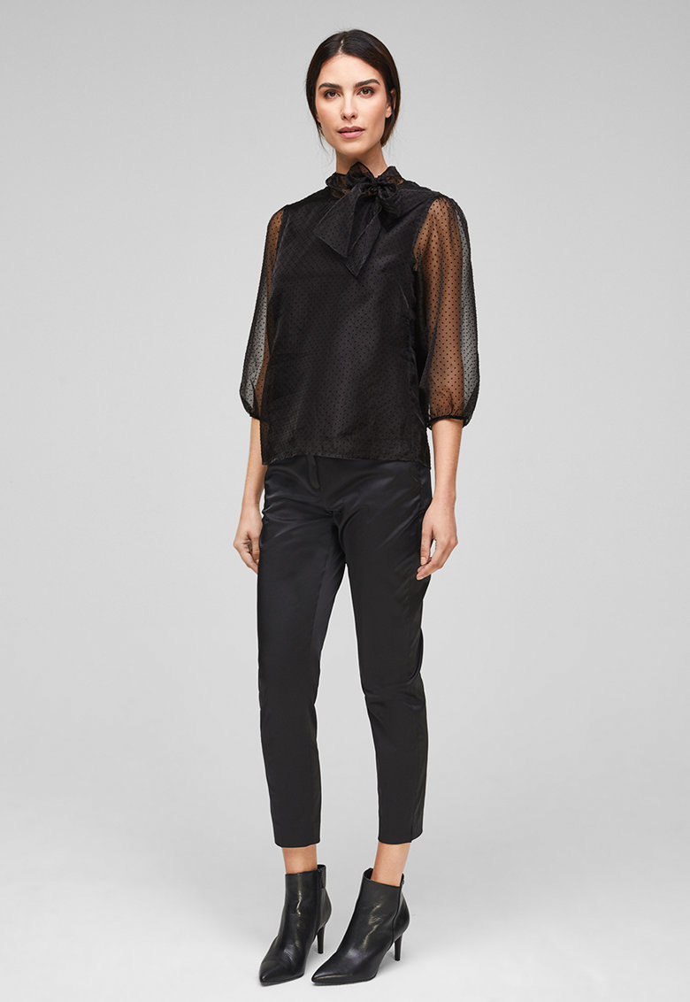 Bluza cu imprimeu cu buline si funda din panglici imagine
