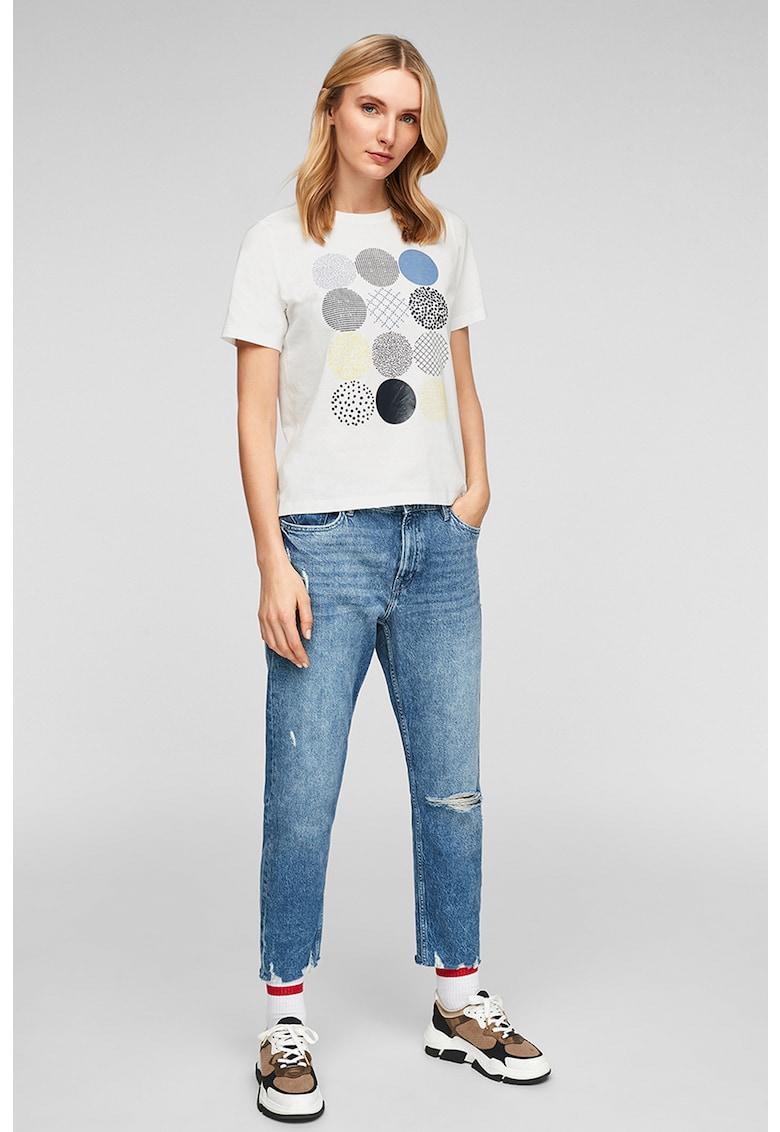 Tricou cu decolteu la baza gatului si model geometric imagine