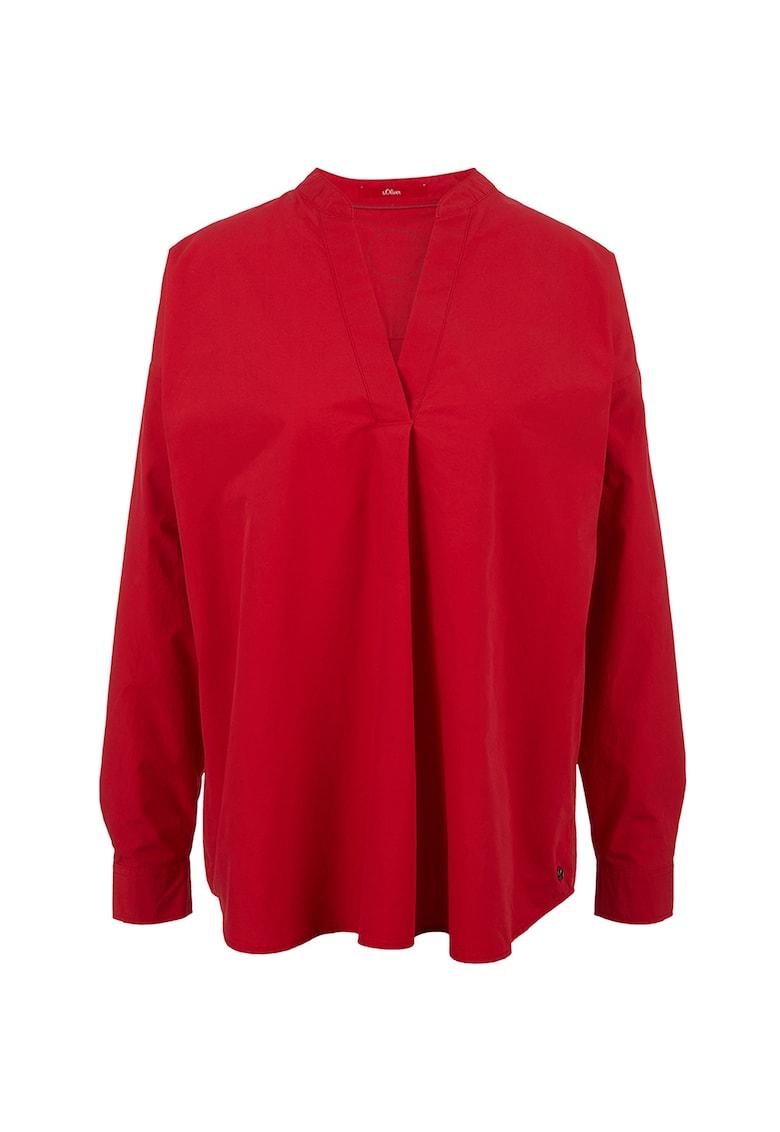 Bluza de bumbac cu decolteu in V imagine