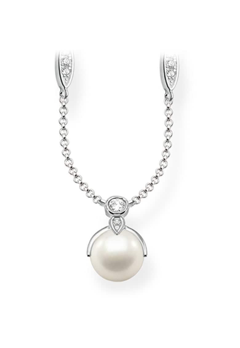 Colier de argint decorat cu perle sintetice si cristale imagine promotie