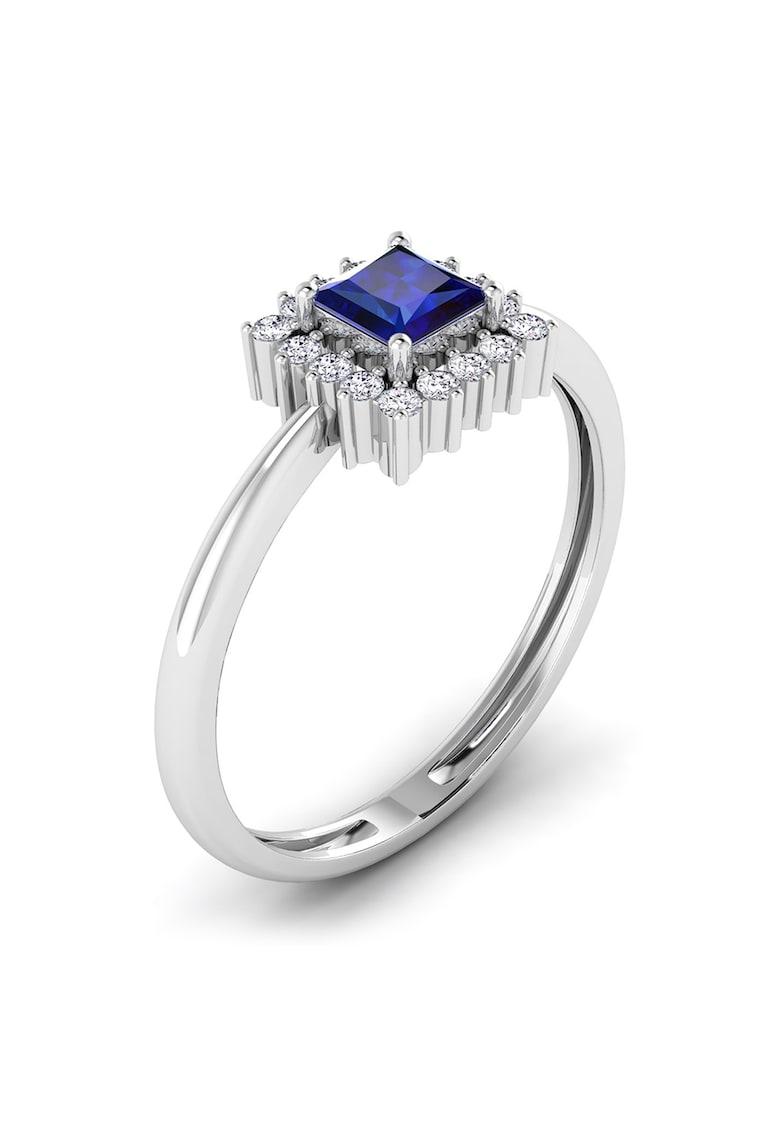 Inel din aur alb de 18K cu diamante si safire