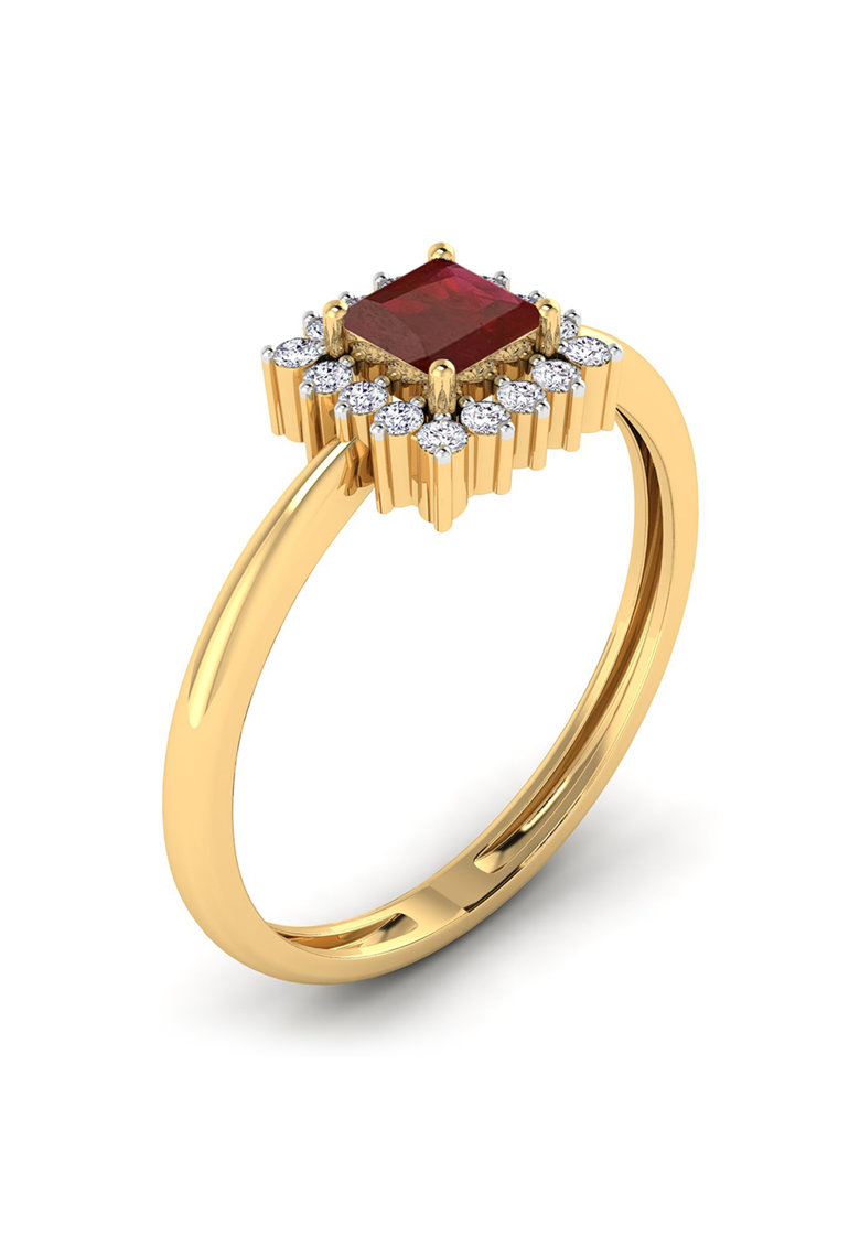Inel din aur de 18K cu diamante si rubin