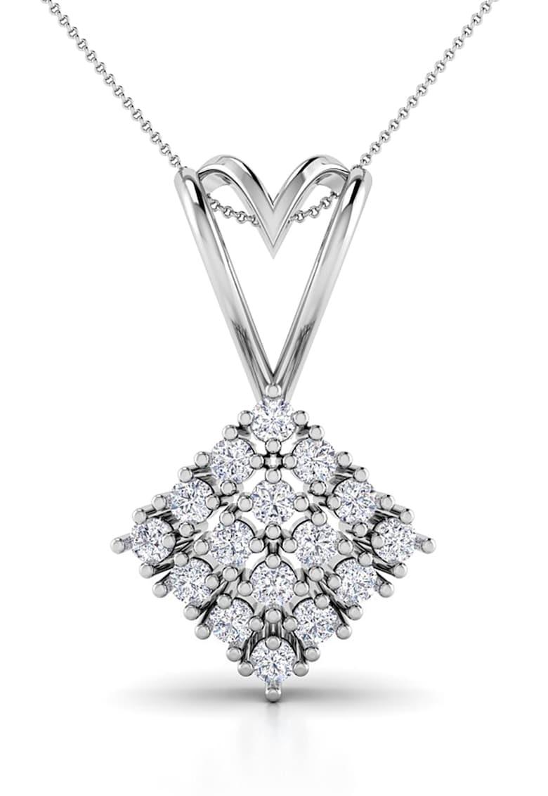 Pandantiv de aur alb de 14K decorat cu 16 diamante