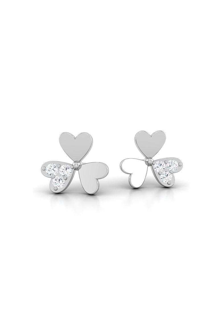 Cercei din aur alb de 14K cu tija - model trifoi si diamante
