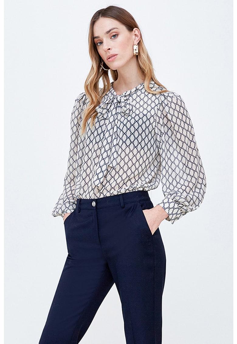Bluza cu imprimeu geometric si funda din panglici imagine
